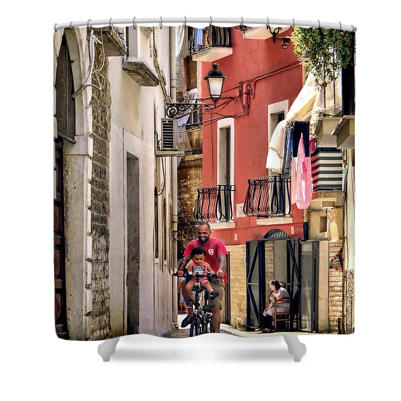 Bari Shower Curtain featuring the photograph Ride Along.bari.italy by Jennie Breeze
