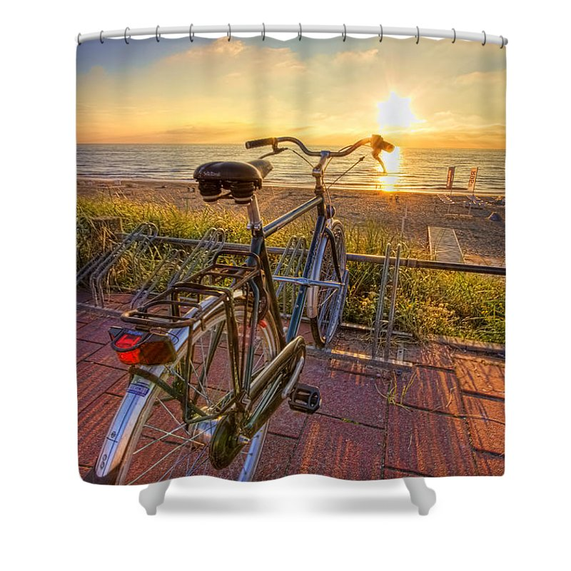 Bike Shower Curtain featuring the photograph Ride Off Into The Sunset by Nadia Sanowar