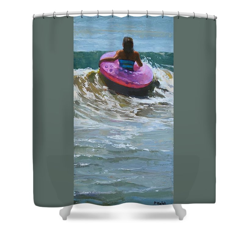 Beach People Shower Curtain featuring the painting Ride The Wave by Patricia Walsh