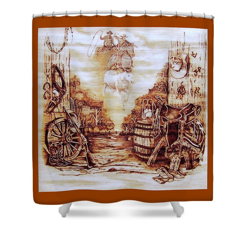 Western Shower Curtain featuring the pyrography Riders In The Sky by Danette Smith