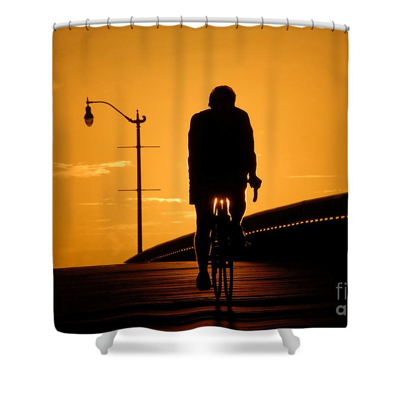 Bicycle Shower Curtain featuring the photograph Riding At Sunset by David Lee Thompson