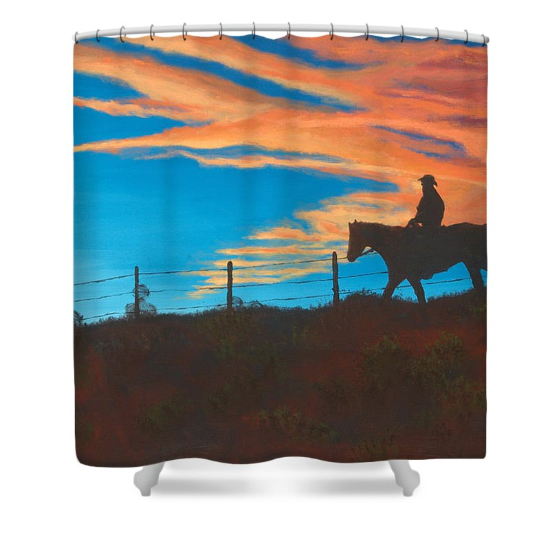 Cowboy Shower Curtain featuring the painting Riding Fence by Jerry McElroy