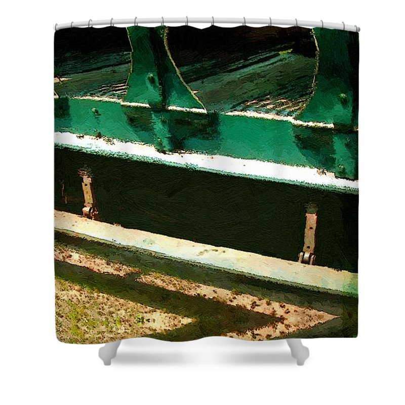 Antique Shower Curtain featuring the painting Riding The Rails by RC DeWinter