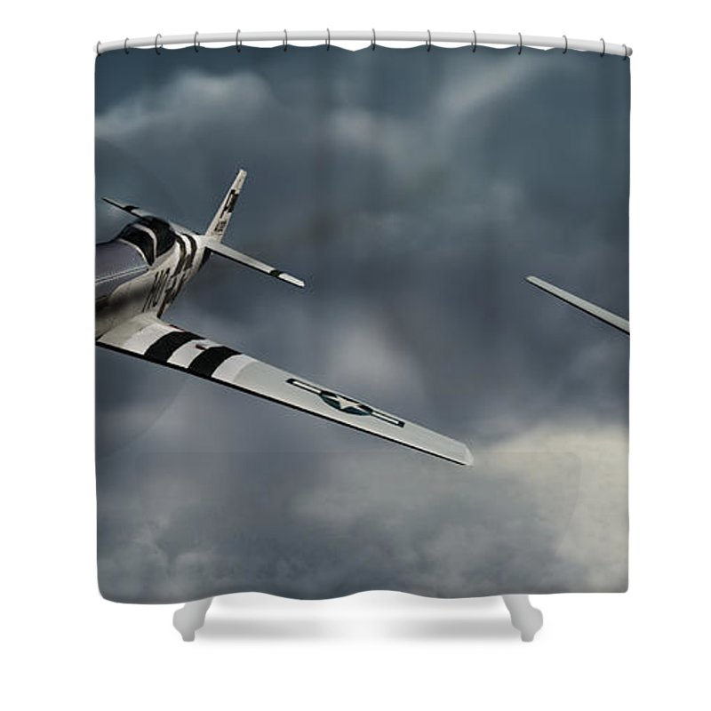 Warbirds Shower Curtain featuring the digital art Riding The Storm by Richard Rizzo