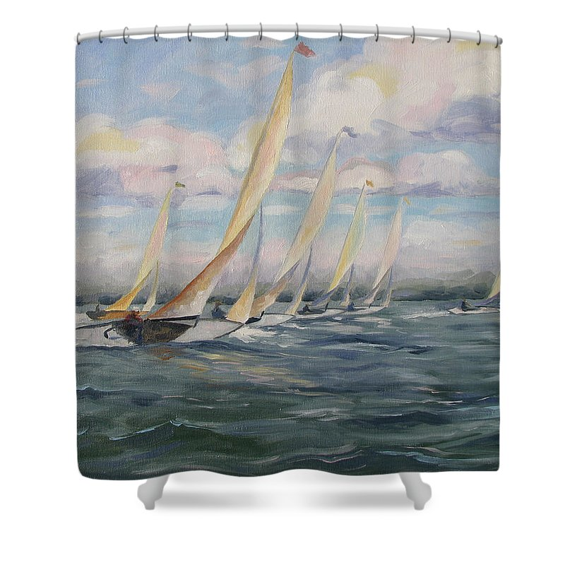 Riding Waves Shower Curtain featuring the painting Riding The Waves by Jay Johnson