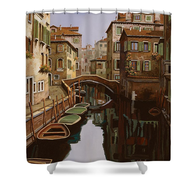 Venice Shower Curtain featuring the painting Riflesso Scuro by Guido Borelli