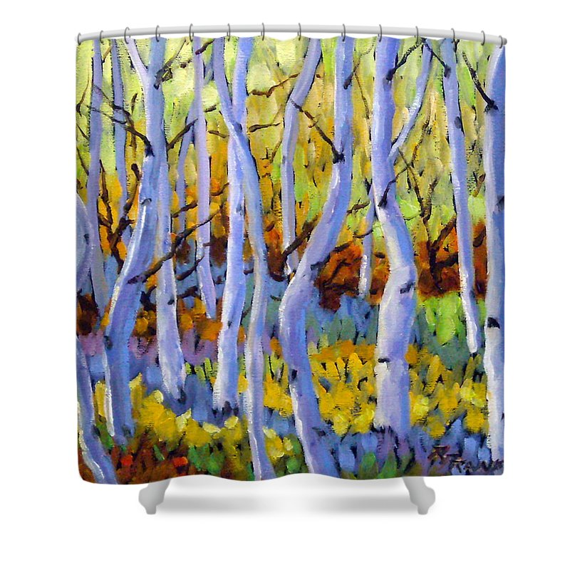 Art Shower Curtain featuring the painting Rigaudon Of Aspens by Richard T Pranke