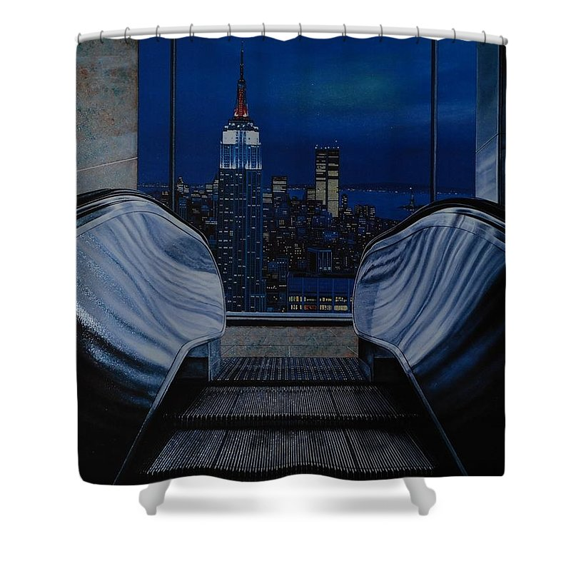 Lithograph Shower Curtain featuring the photograph Right To The Top by Rob Hans
