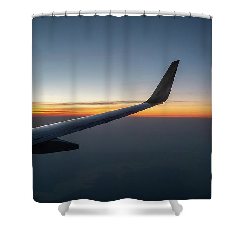 Usa Shower Curtain featuring the photograph Right Wing Of Airplane In Mid Air With Sunrise In The Background by PorqueNo Studios