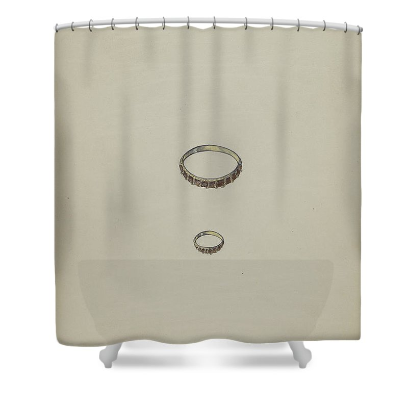 Shower Curtain featuring the drawing Ring by American 20th Century