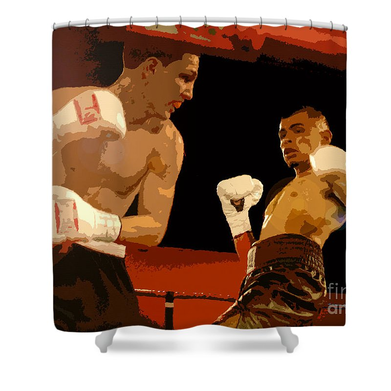 Art Shower Curtain featuring the painting Ringside by David Lee Thompson