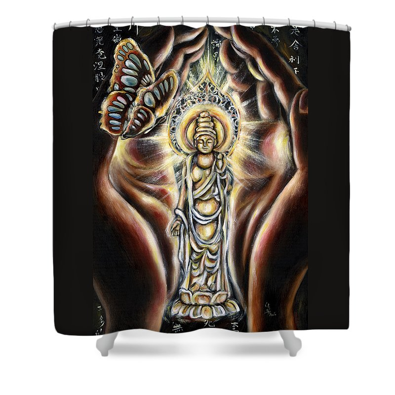 Butterfly Shower Curtain featuring the painting Rinne by Hiroko Sakai