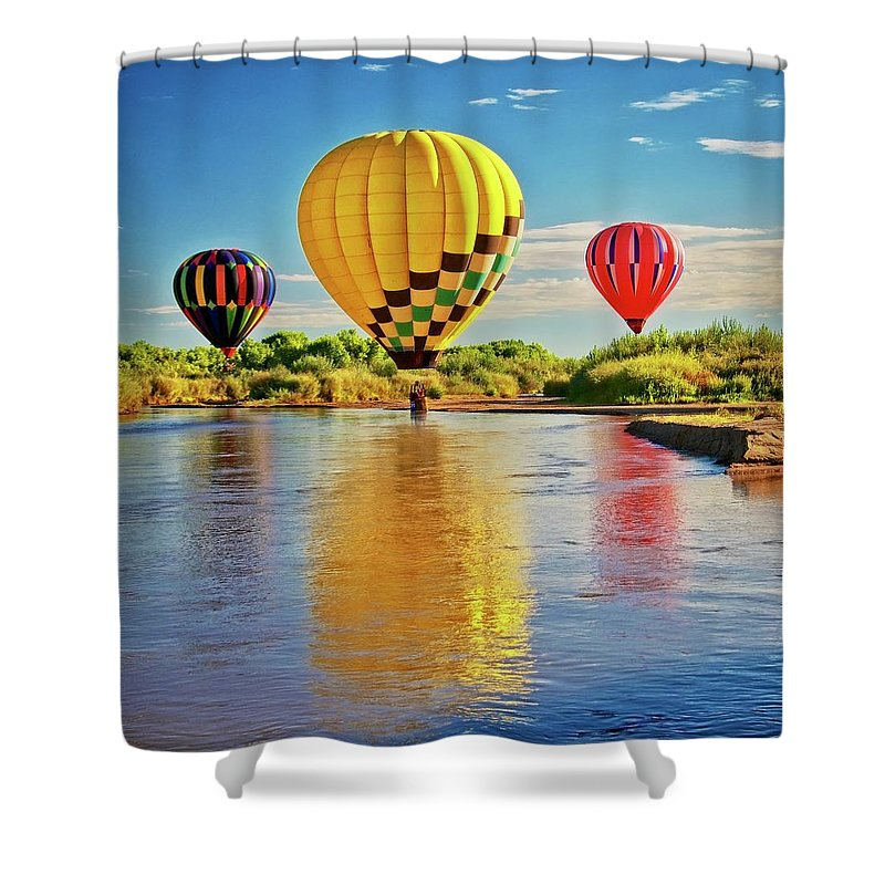 Fine Art Photography Shower Curtain featuring the photograph Rio Grande balloon Reflection, Albuquerque, NM by Zayne Diamond Photographic