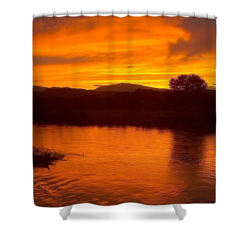 Sunset Shower Curtain featuring the photograph Rio Grande Sunset by Tim McCarthy
