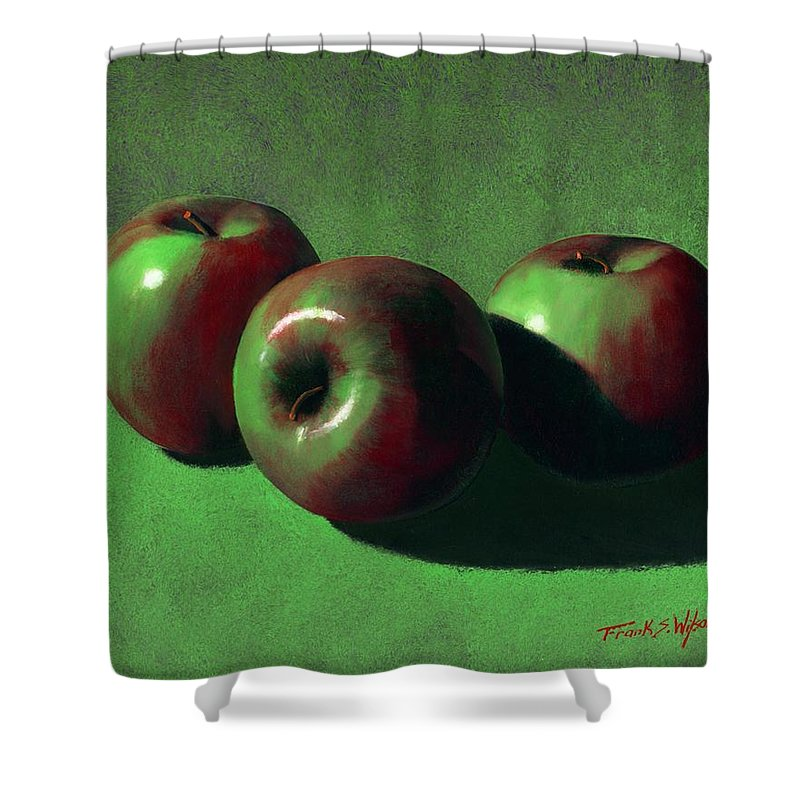 Still Life Shower Curtain featuring the painting Ripe Apples by Frank Wilson