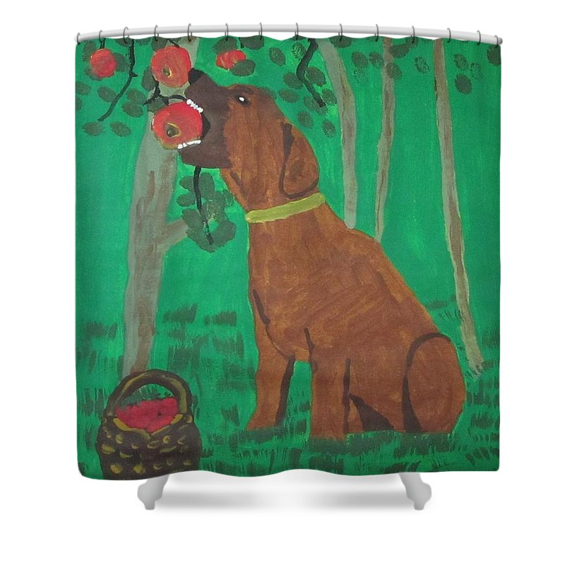 Dog Shower Curtain featuring the painting Ripe For The Picking by Judy Pearce