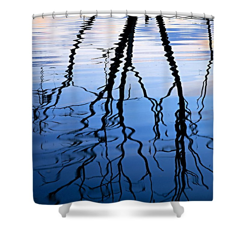 Chester Woods County Park Shower Curtain featuring the photograph Rippled Reflections by Larry Ricker