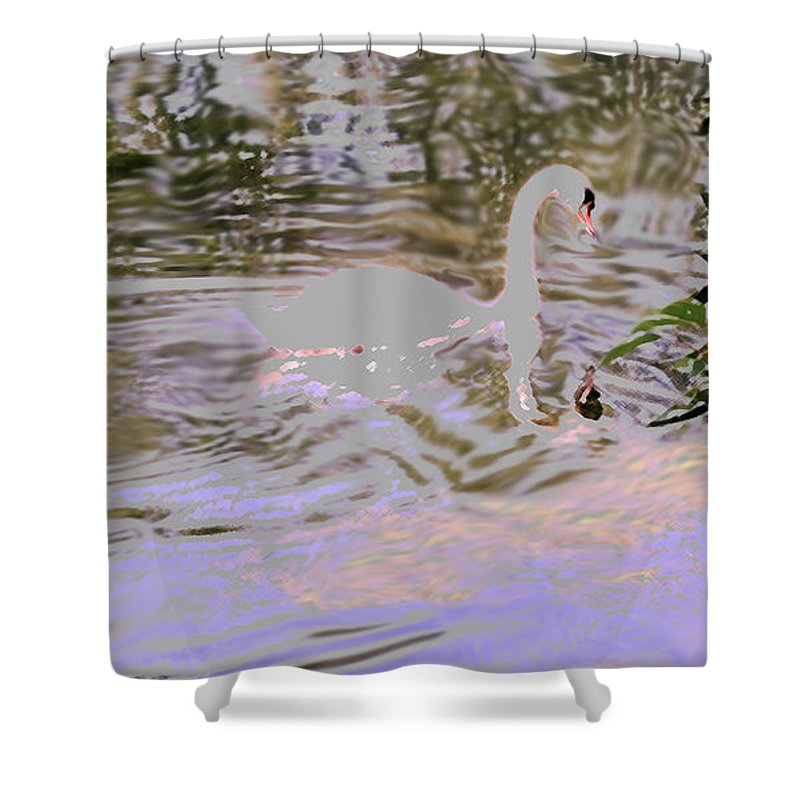 Swan Shower Curtain featuring the photograph Ripples Subdued by Ian MacDonald