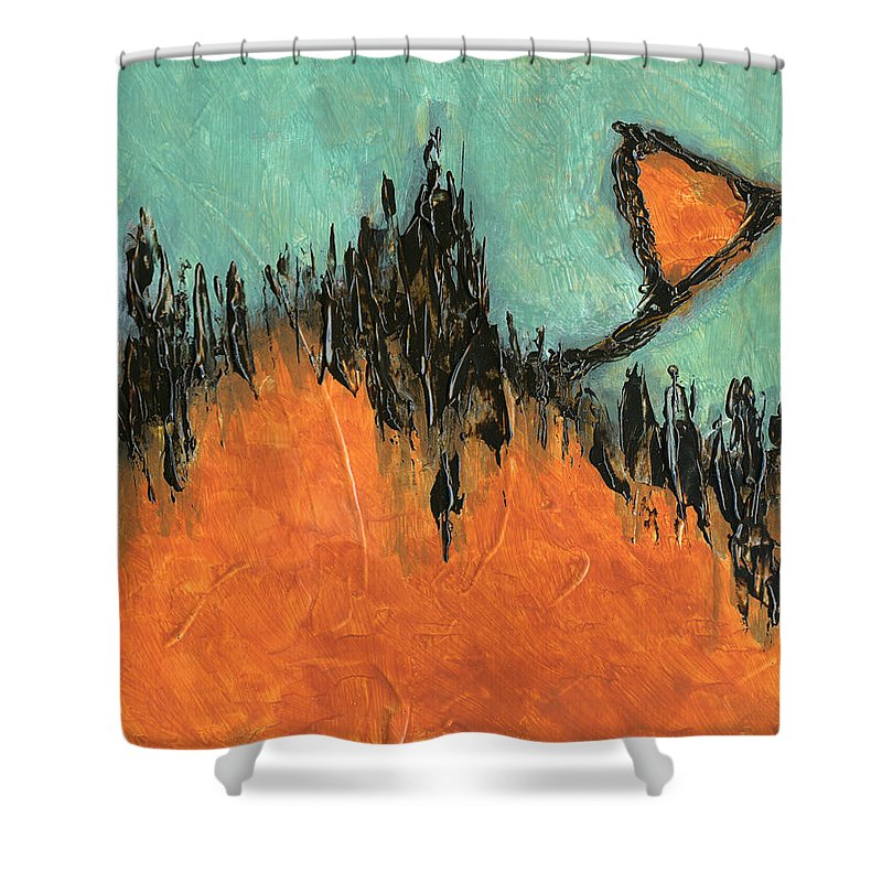 Abstract Shower Curtain featuring the painting Rising Hope Abstract Art by Karla Beatty