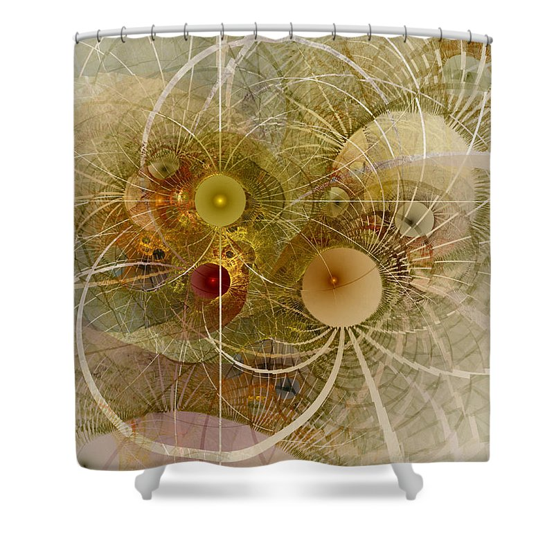 Abstract Shower Curtain featuring the digital art Rising Spring - Fractal Art by NirvanaBlues