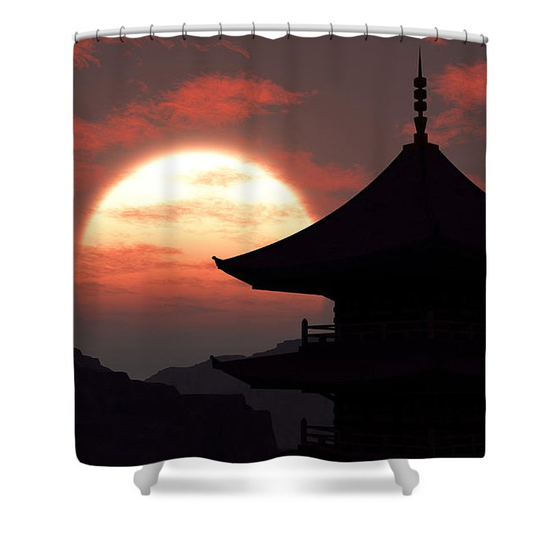 Oriental Shower Curtain featuring the digital art Rising Sun by Richard Rizzo