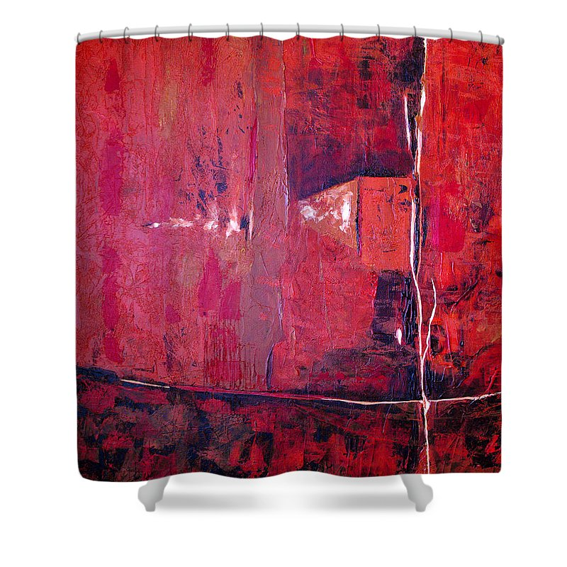 Abstract Shower Curtain featuring the painting Risky Business by Ruth Palmer