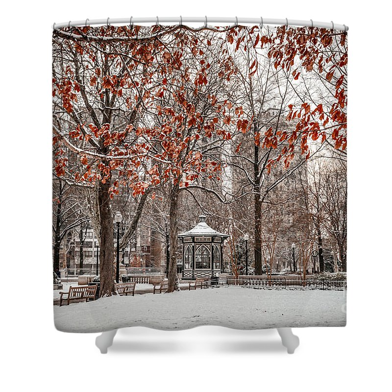 Rittenhouse Square Shower Curtain featuring the photograph Rittenhouse Snowscape by Stacey Granger