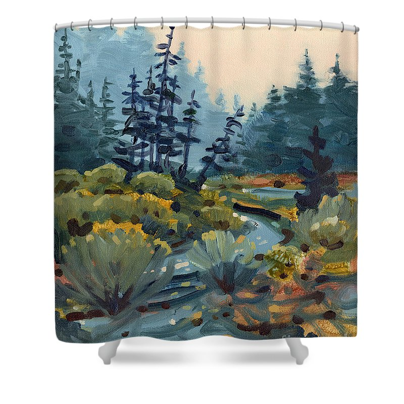 Russian River Shower Curtain featuring the painting River Bend by Donald Maier