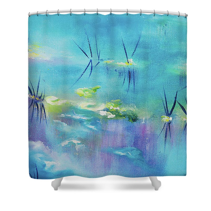 Glass Isle Series Shower Curtain featuring the painting River by Dechen ART