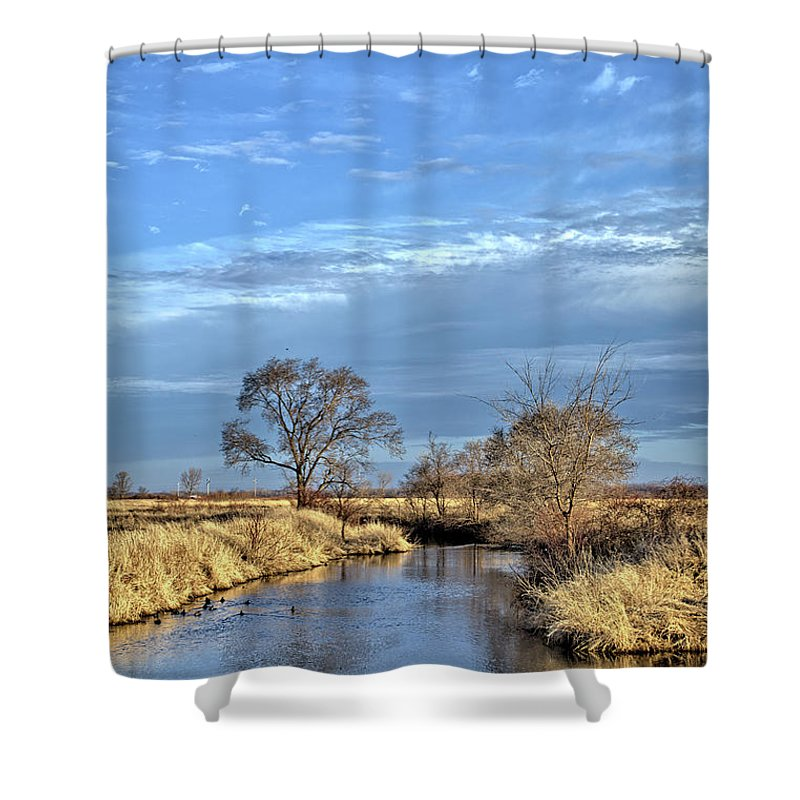 River Shower Curtain featuring the photograph River Duck Morning 2 by Bonfire Photography