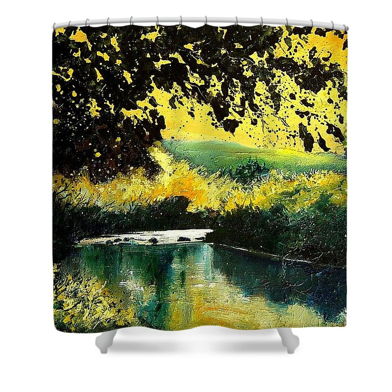 River Shower Curtain featuring the painting River Houille by Pol Ledent