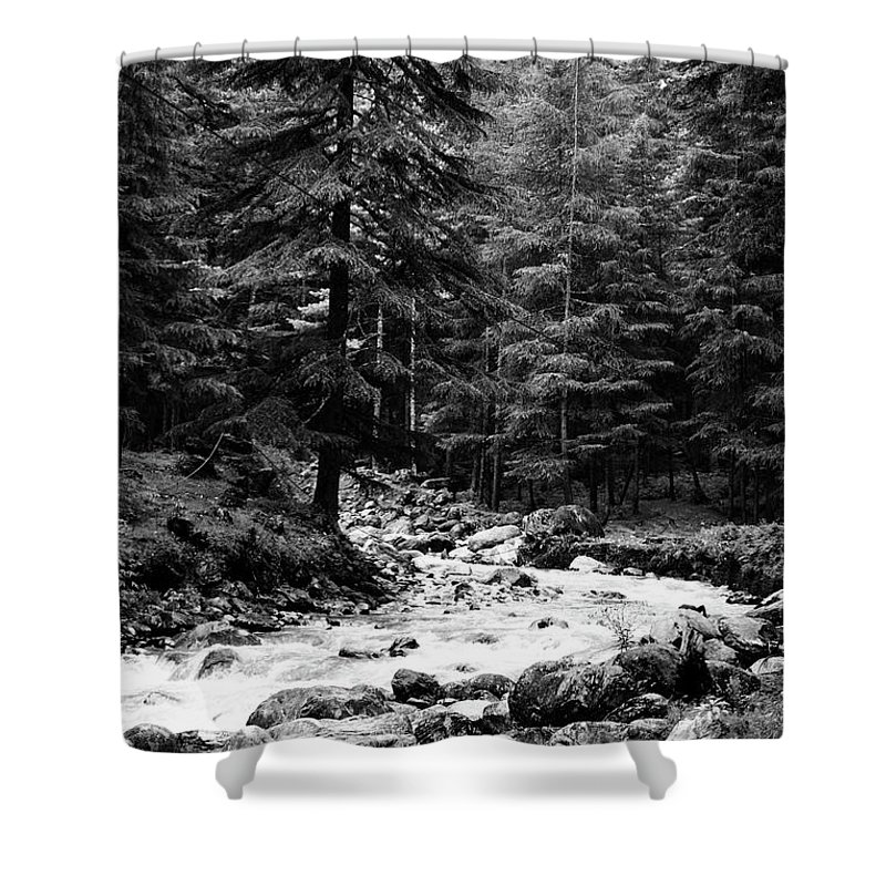 Mountains Shower Curtain featuring the photograph River In The Mountains by Udit Chugh