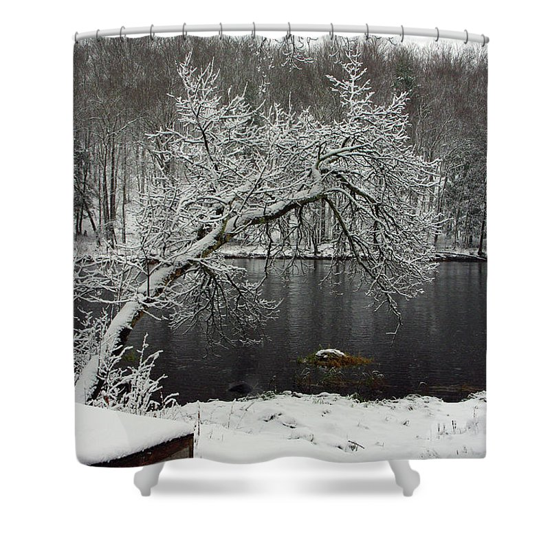 Winter Shower Curtain featuring the photograph River In The Winter by Alice Markham