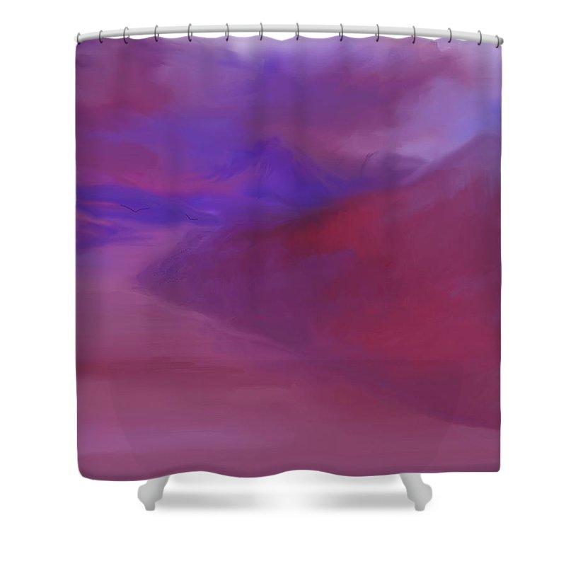 Landscape Shower Curtain featuring the digital art River Landscape 082310 by David Lane