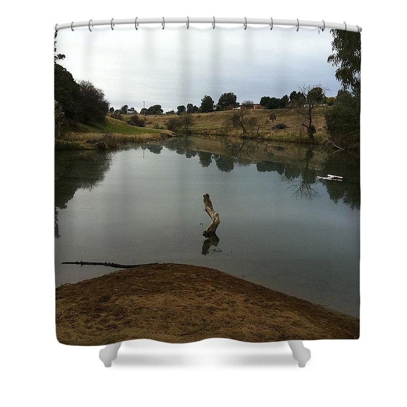 River Shower Curtain featuring the painting River Life by Richard Benson