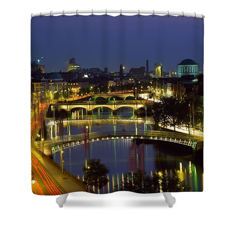 Day Shower Curtain featuring the photograph River Liffey Bridges, Dublin, Ireland by The Irish Image Collection