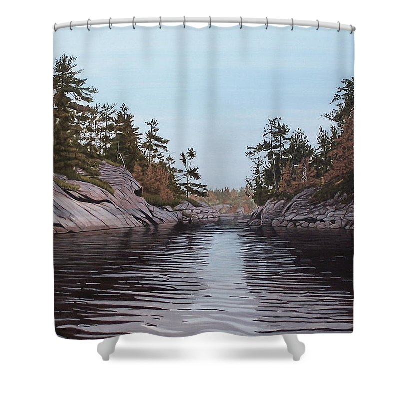 Landscapes Shower Curtain featuring the painting River Narrows by Kenneth M Kirsch