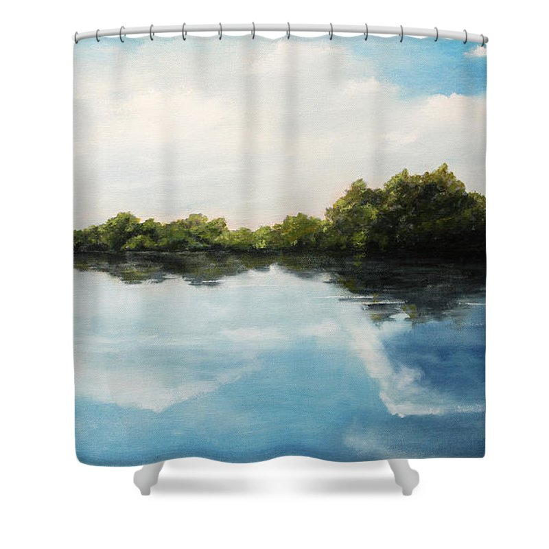 Landscape Shower Curtain featuring the painting River of Dreams by Darko Topalski