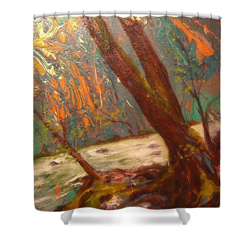 Nature Shower Curtain featuring the painting River Of Energy by Sofanya White
