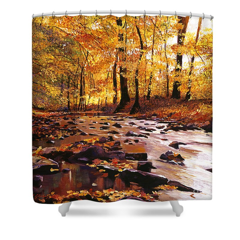 Autumn Shower Curtain featuring the painting River Of Gold by David Lloyd Glover