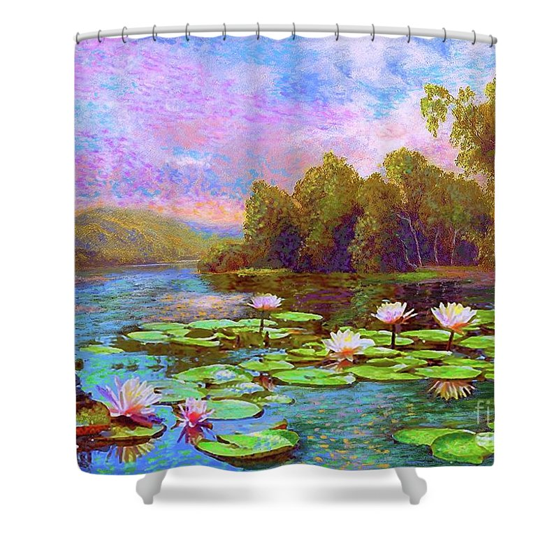 Floral Shower Curtain featuring the painting The Wonder Of Water Lilies by Jane Small