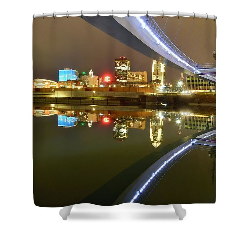 Des Moines Shower Curtain featuring the photograph River Reflections by Justin Langford