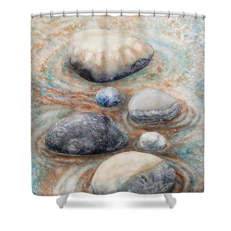 Abstract Shower Curtain featuring the painting River Rock 2 by Valerie Meotti