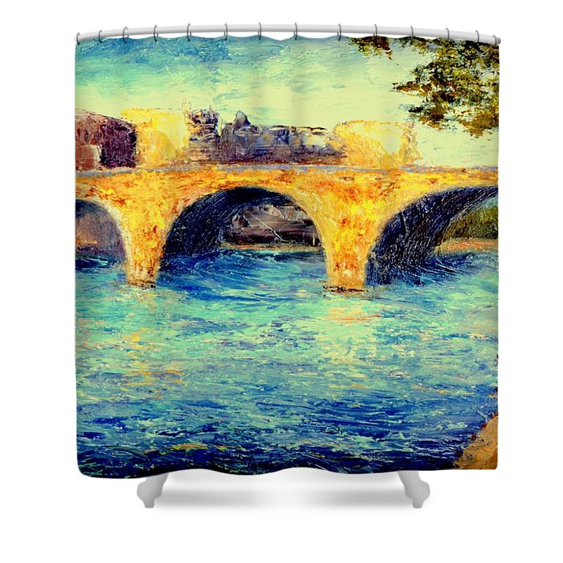 Impressionism Shower Curtain featuring the painting River Seine Bridge by Gail Kirtz
