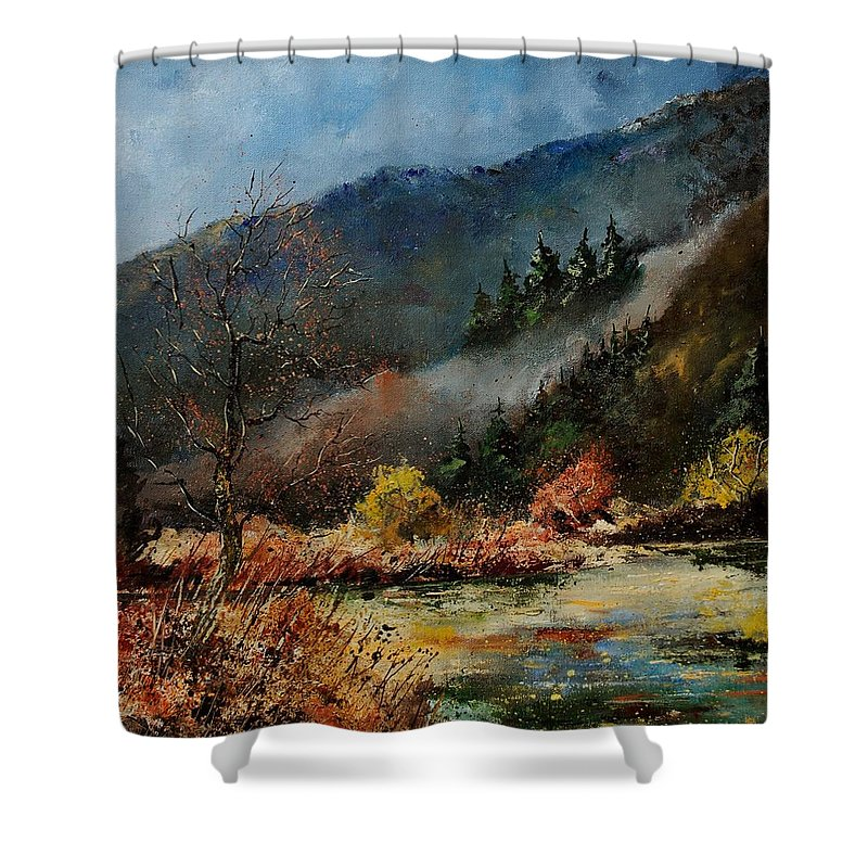 River Shower Curtain featuring the painting River Semois by Pol Ledent