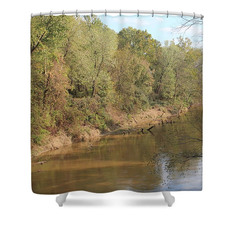 Amy Wilkinson Shower Curtain featuring the photograph River Sun by Amy Wilkinson
