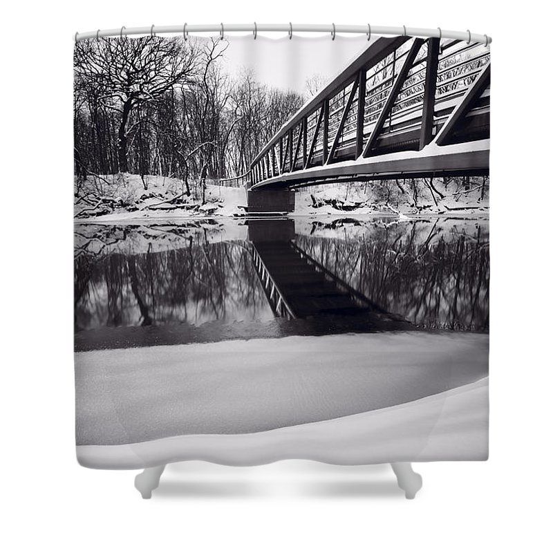 Bridge Shower Curtain featuring the photograph River View B And W by Steve Gadomski