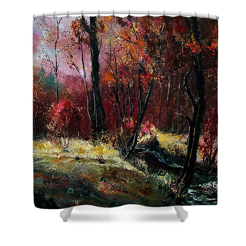 River Shower Curtain featuring the painting River Ywoigne by Pol Ledent