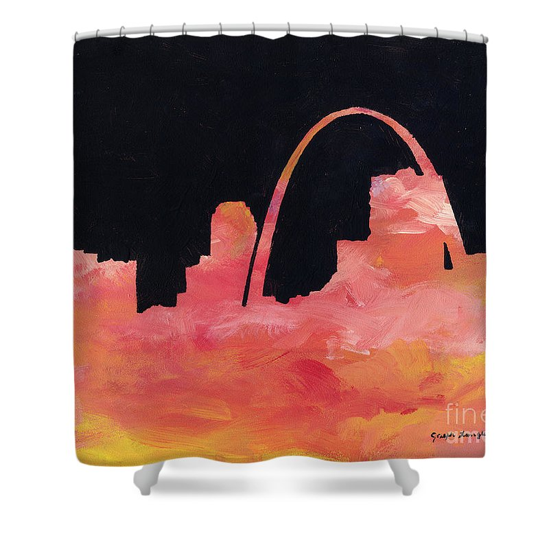 Cityscape Shower Curtain featuring the painting Riverfront by Joseph A Langley