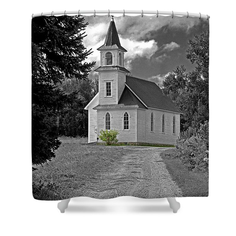 Country Church Shower Curtain featuring the photograph Riverside Presbyterian Church 1800s Bw by Mark Sellers